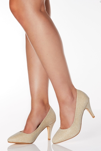 Wide Fit Gold Shimmer Almond Toe Courts